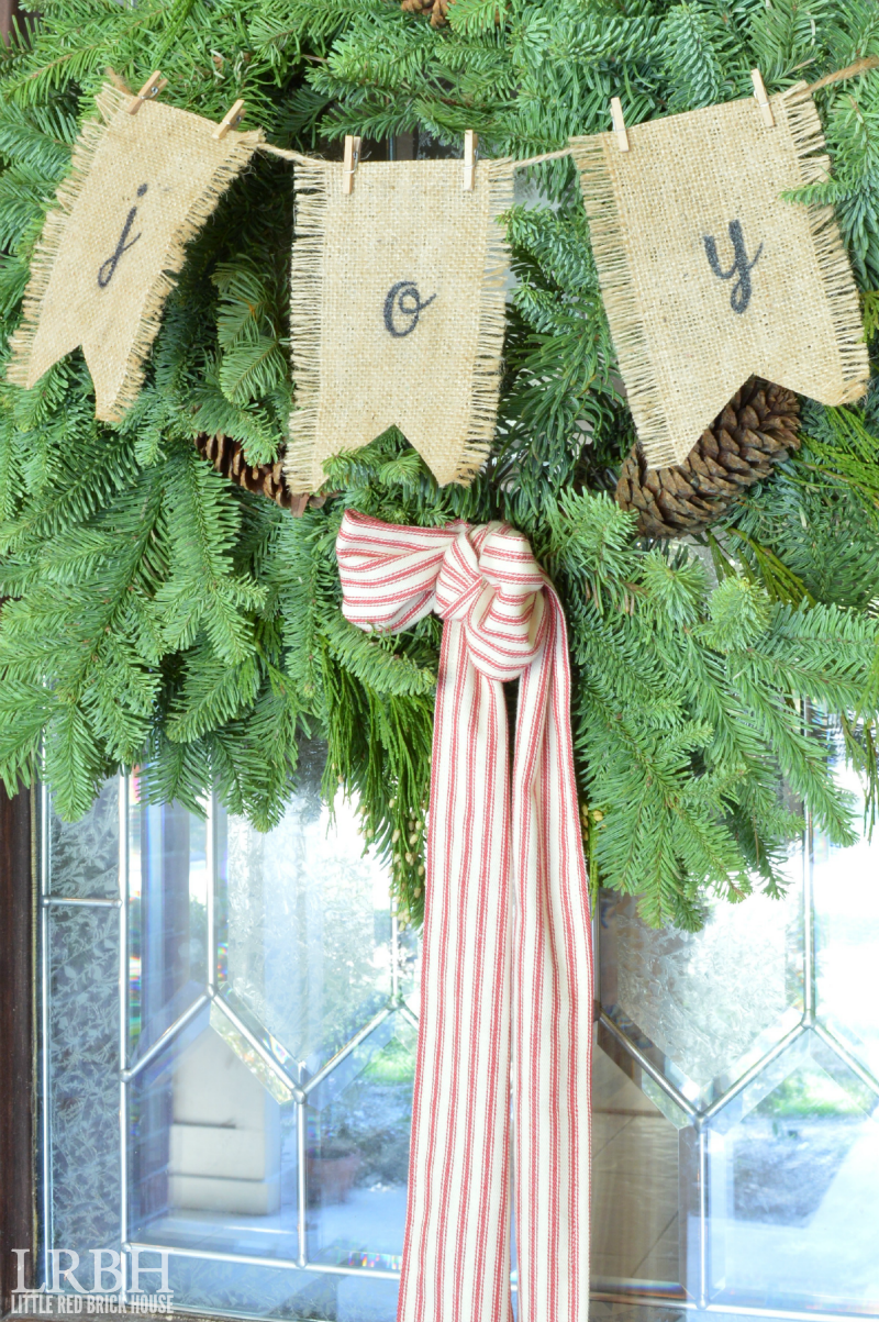 Burlap Banner Evergreen Christmas Wreath
